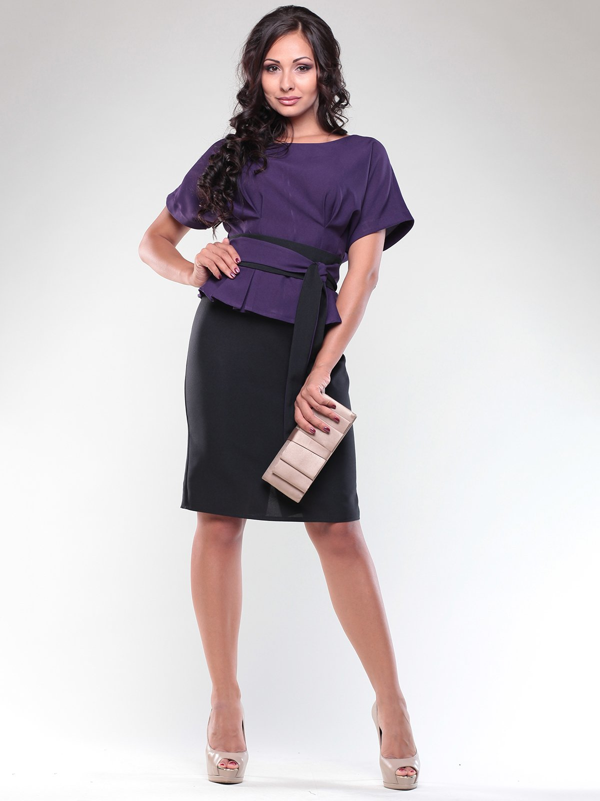 Платье фиолетово-черное | 1850728