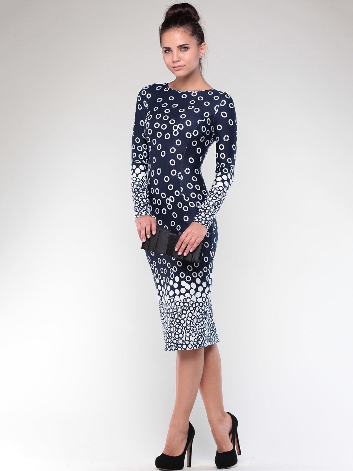 Платье темно-синее в принт | 1861169