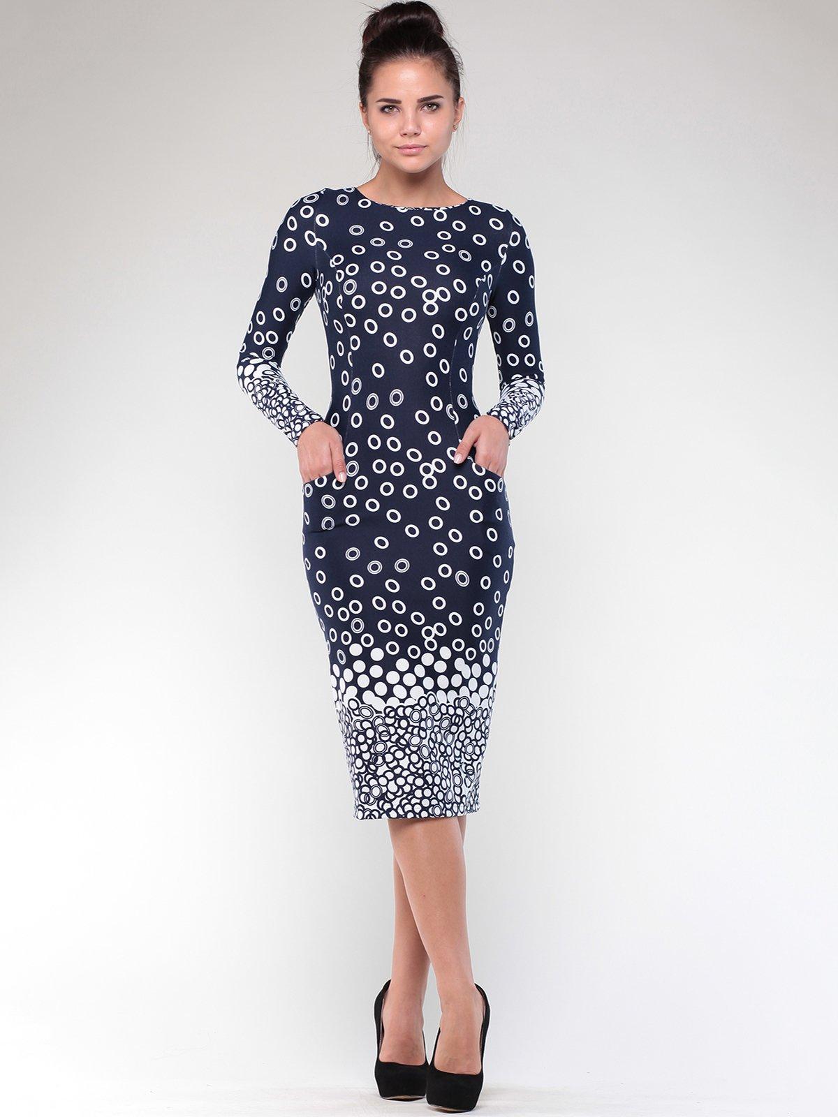Платье темно-синее в принт | 1861169 | фото 4
