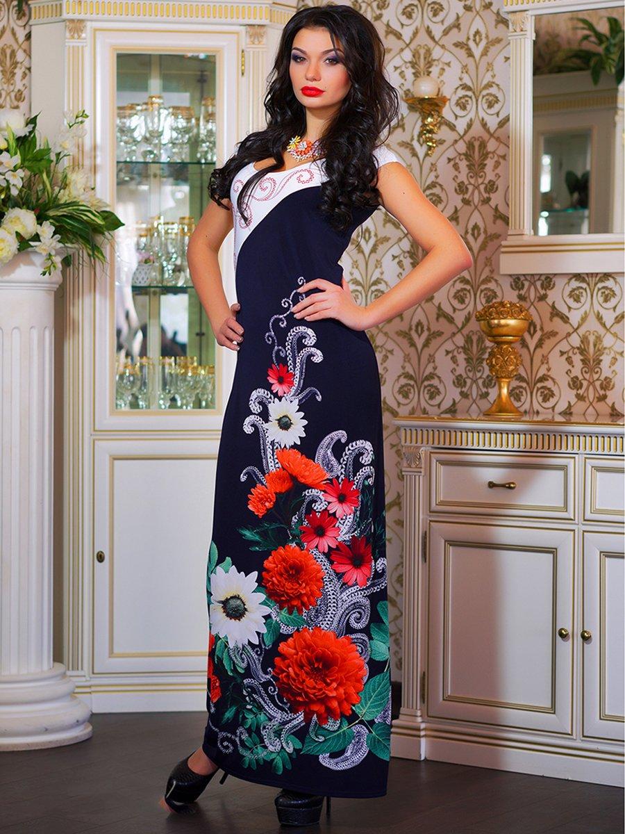 Сукня двоколірна з квітковим принтом | 1833760 | фото 4