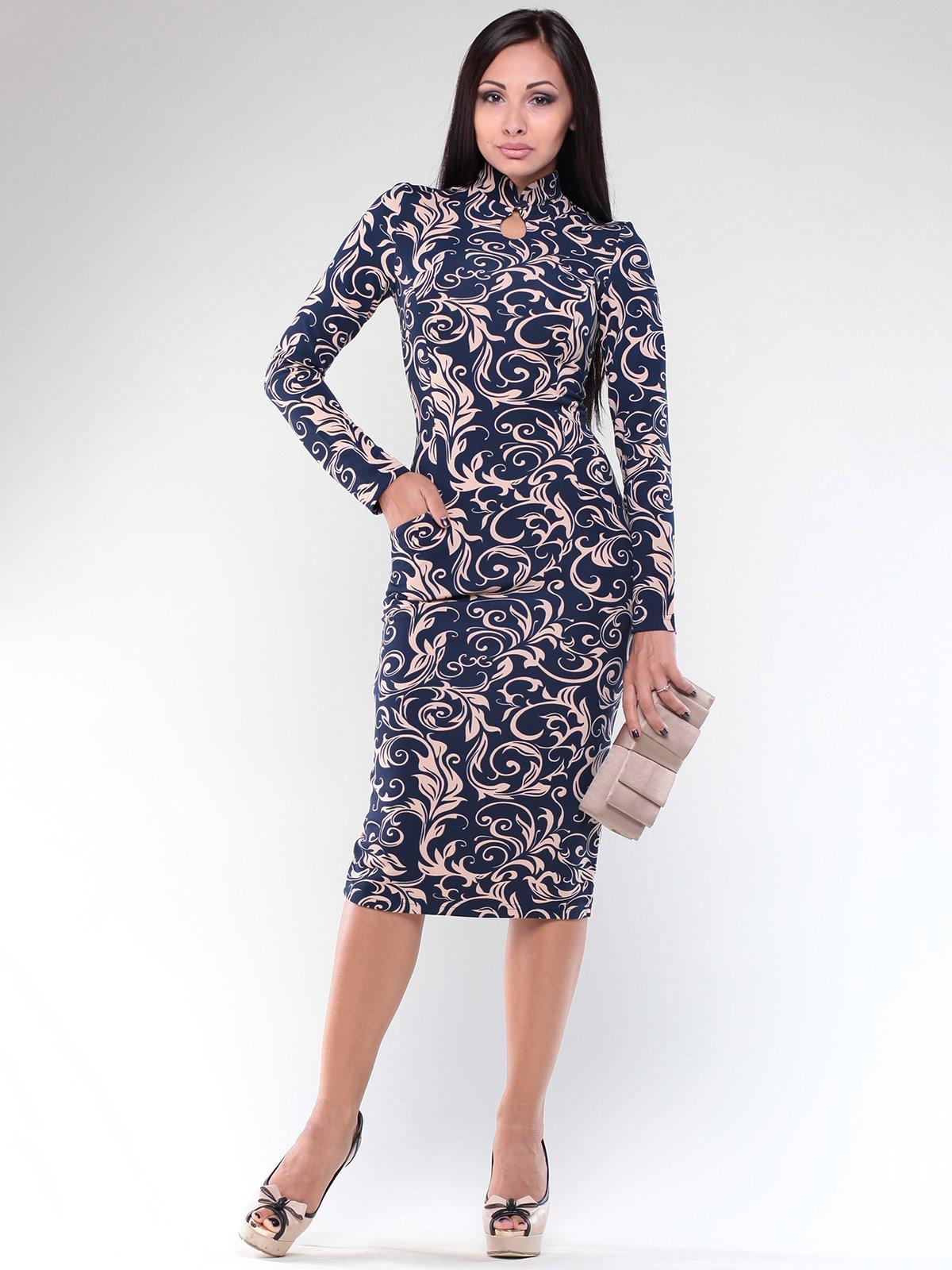 Платье синее в узоры | 1887522