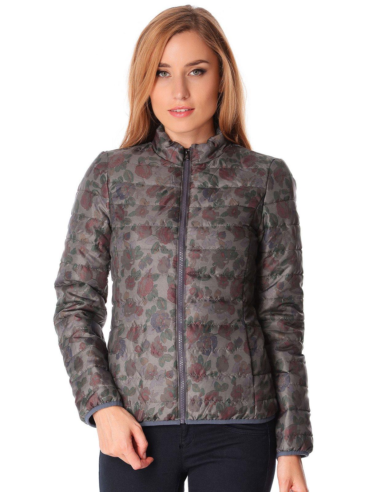 Куртка серая в цветочный принт | 1873944