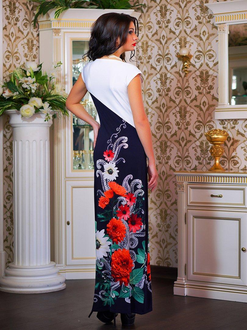 Сукня двоколірна з квітковим принтом | 1833760 | фото 9