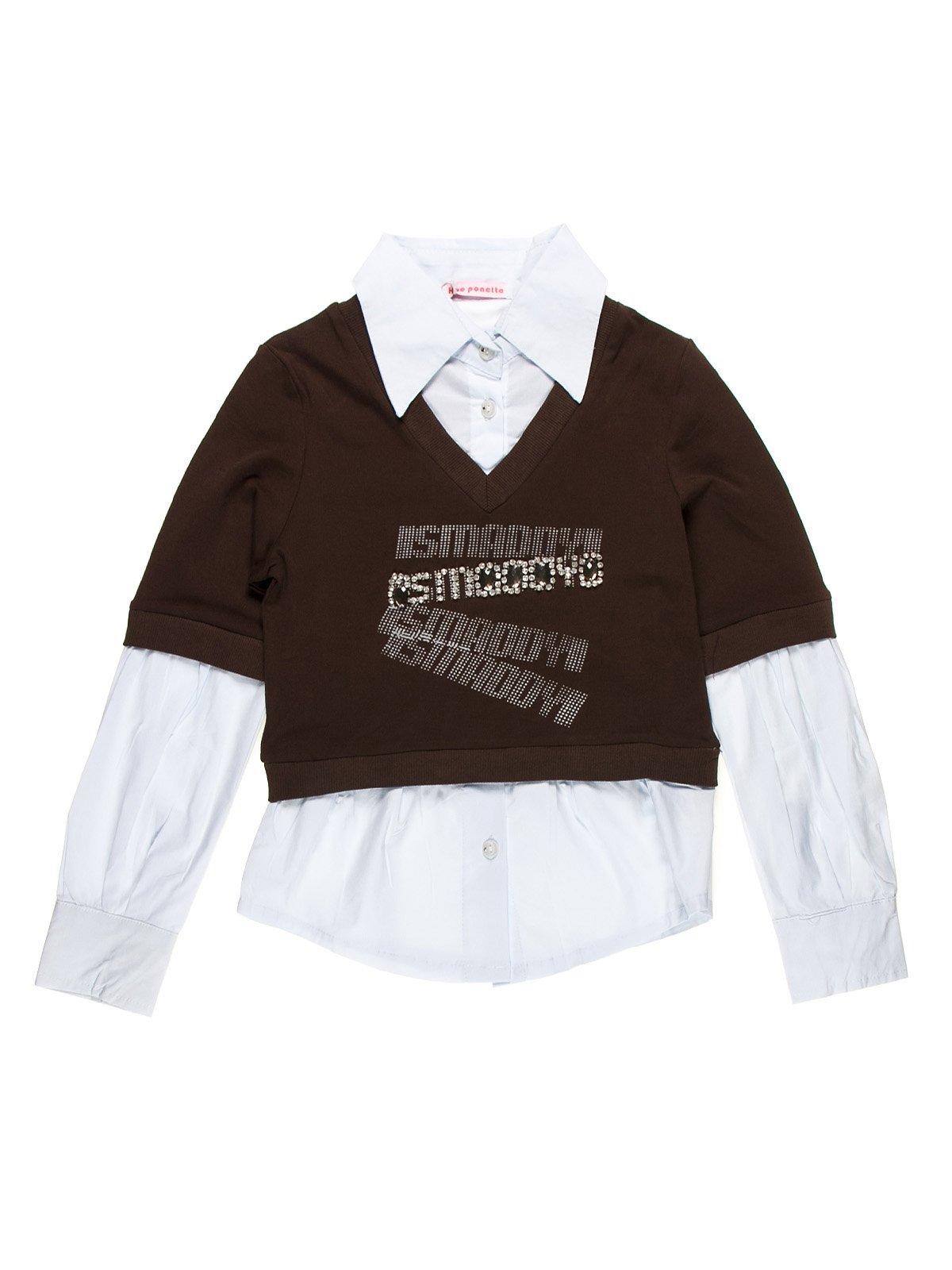 Джемпер коричневый с блузой-обманкой   1878982