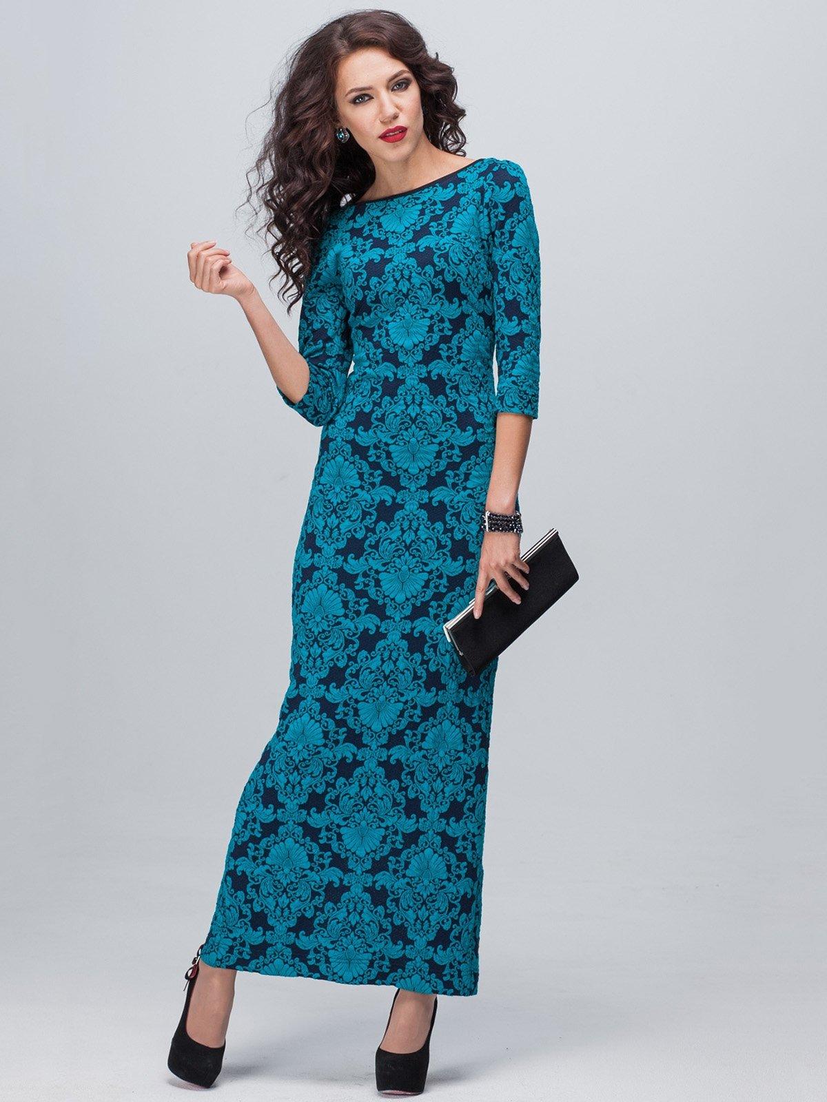 Сукня синьо-бірюзова у візерунок | 1895279
