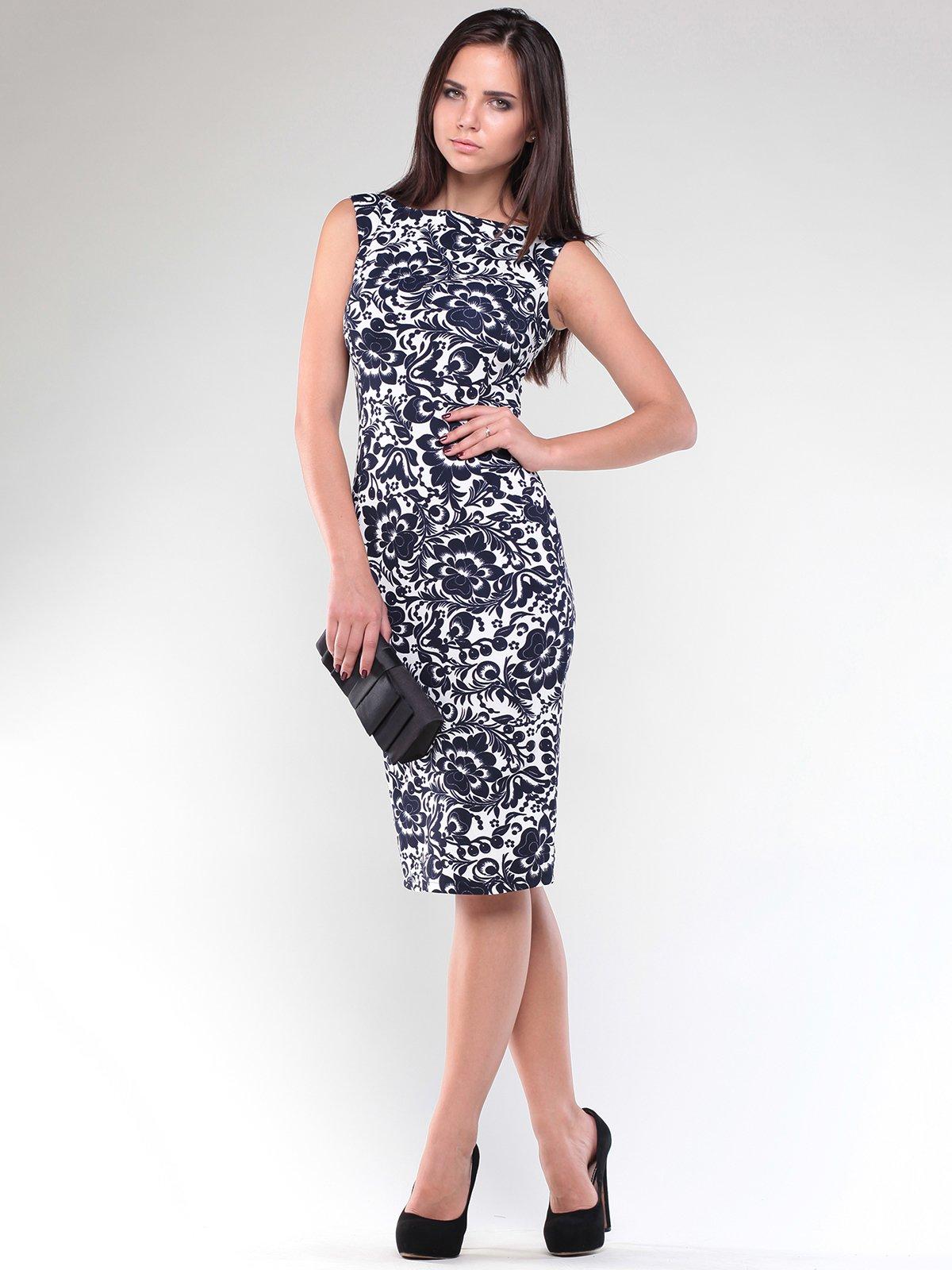 Платье черно-белое в принт   1896992