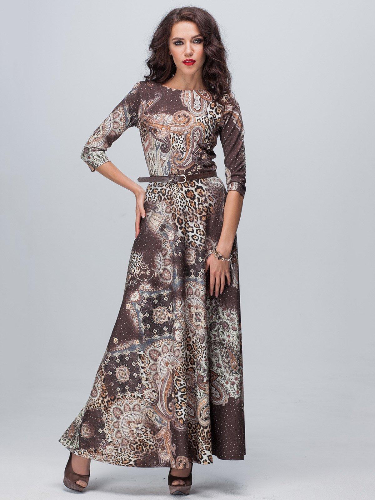 Платье коричневое в принт | 1916936
