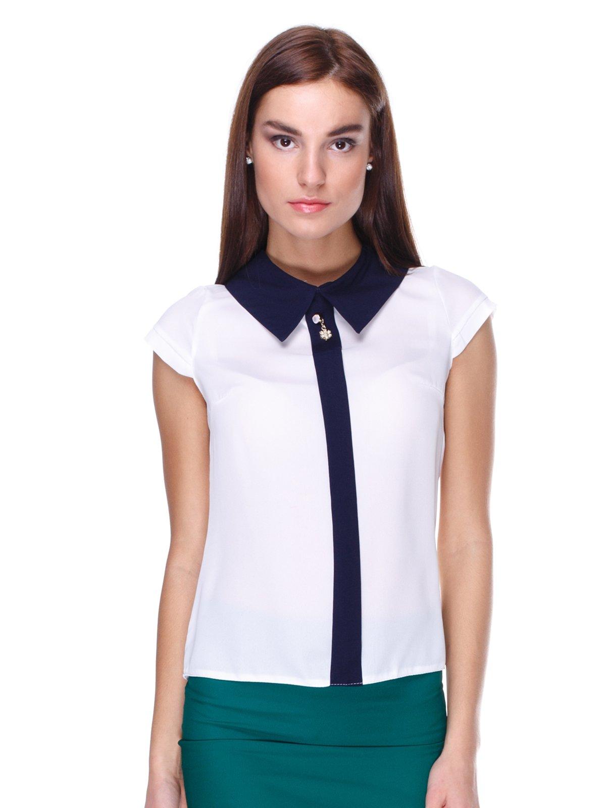 Блуза біла з контрастним оздобленням   1920603