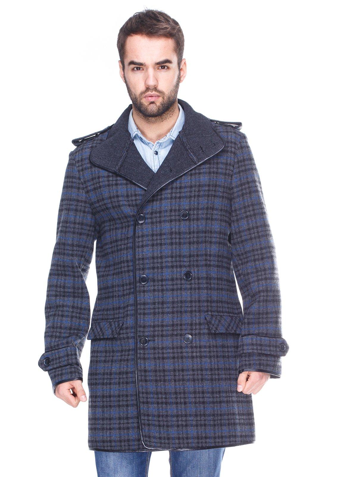 Пальто клетчатое двубортное | 963858