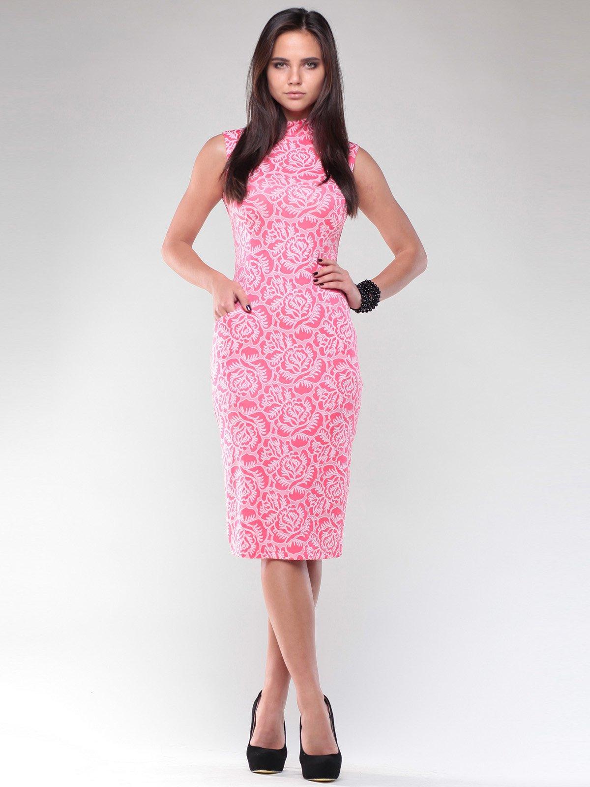 Платье коралловое в цветочный принт | 1946825