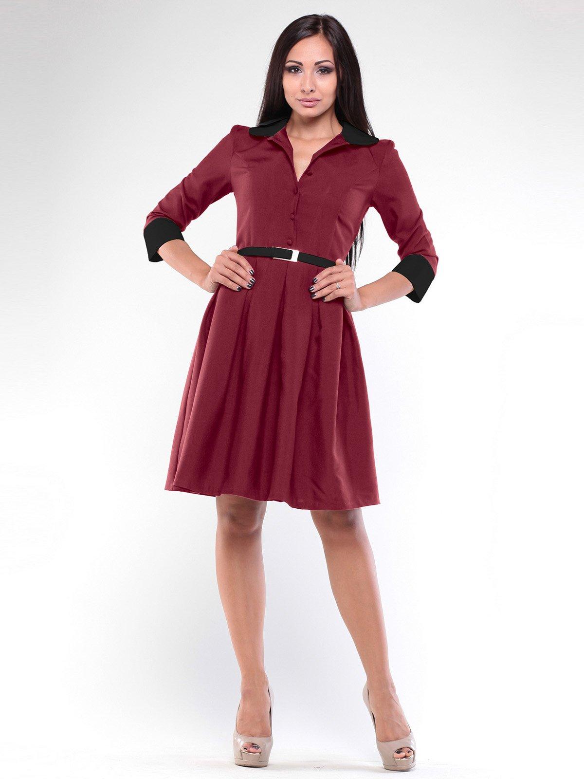Сукня сливового кольору з поясом | 1946845