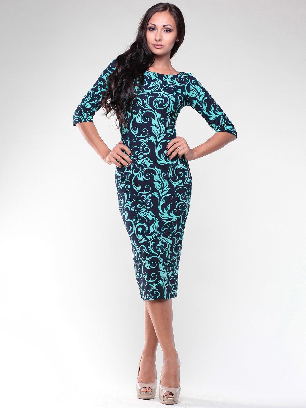 Платье темно-синее в принт   1934760