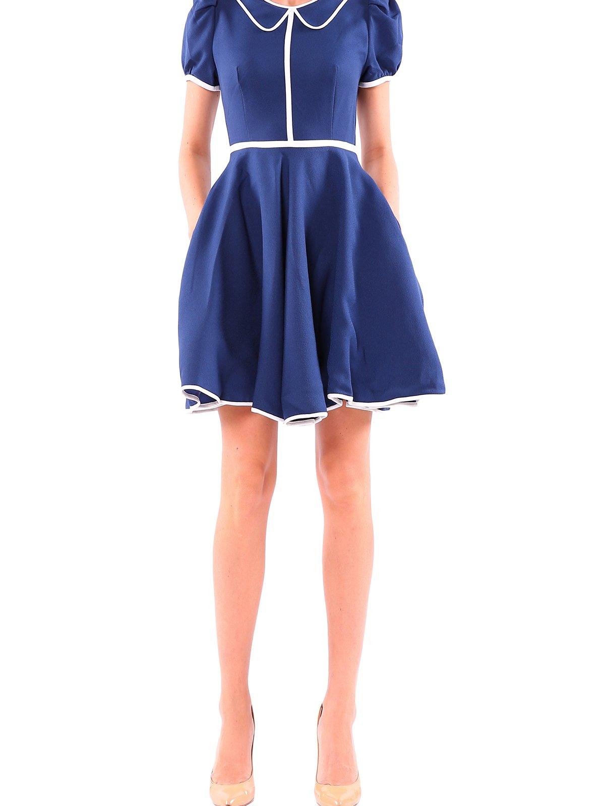 Платье синее с отделкой белого цвета | 1965582
