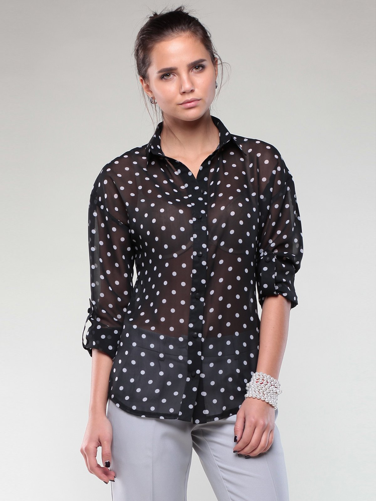 Блуза черная в горох | 1970096