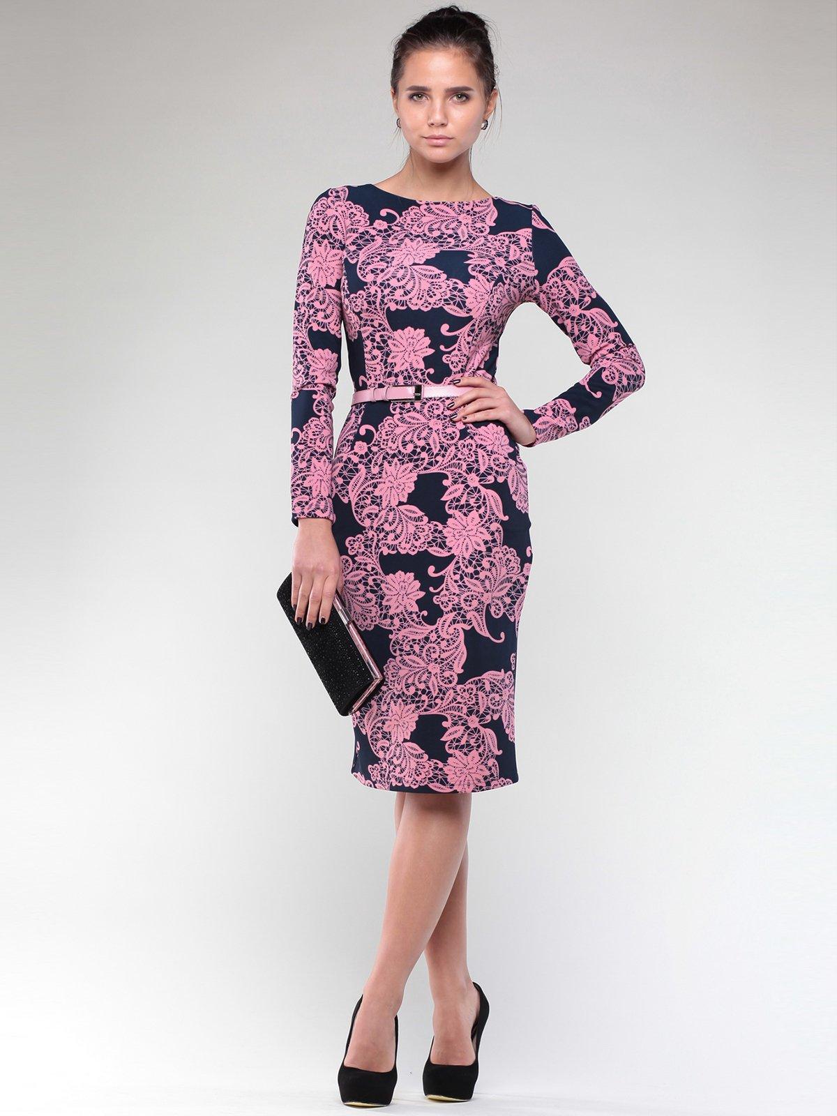 Платье черно-розовое в принт | 1970387