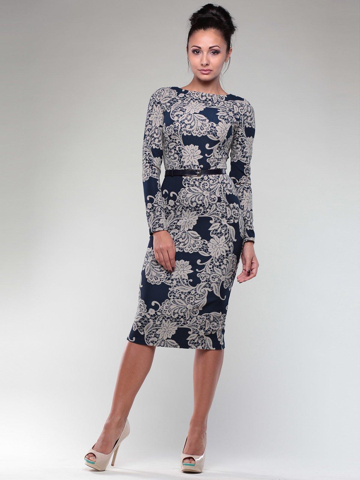 Платье синее в принт   1970401