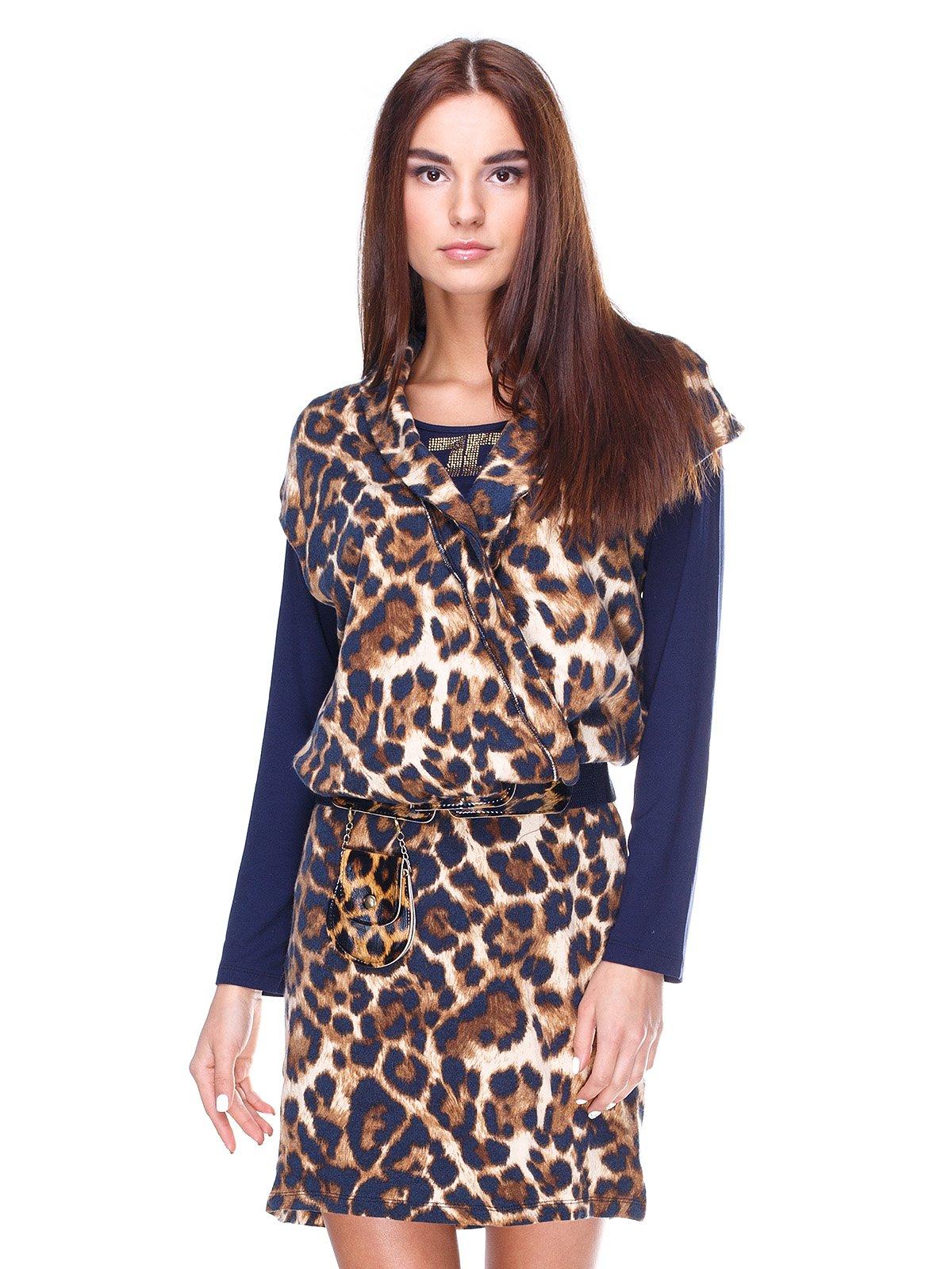 d18ed77040e Платье сине-коричневое с анималистическим принтом — Stella
