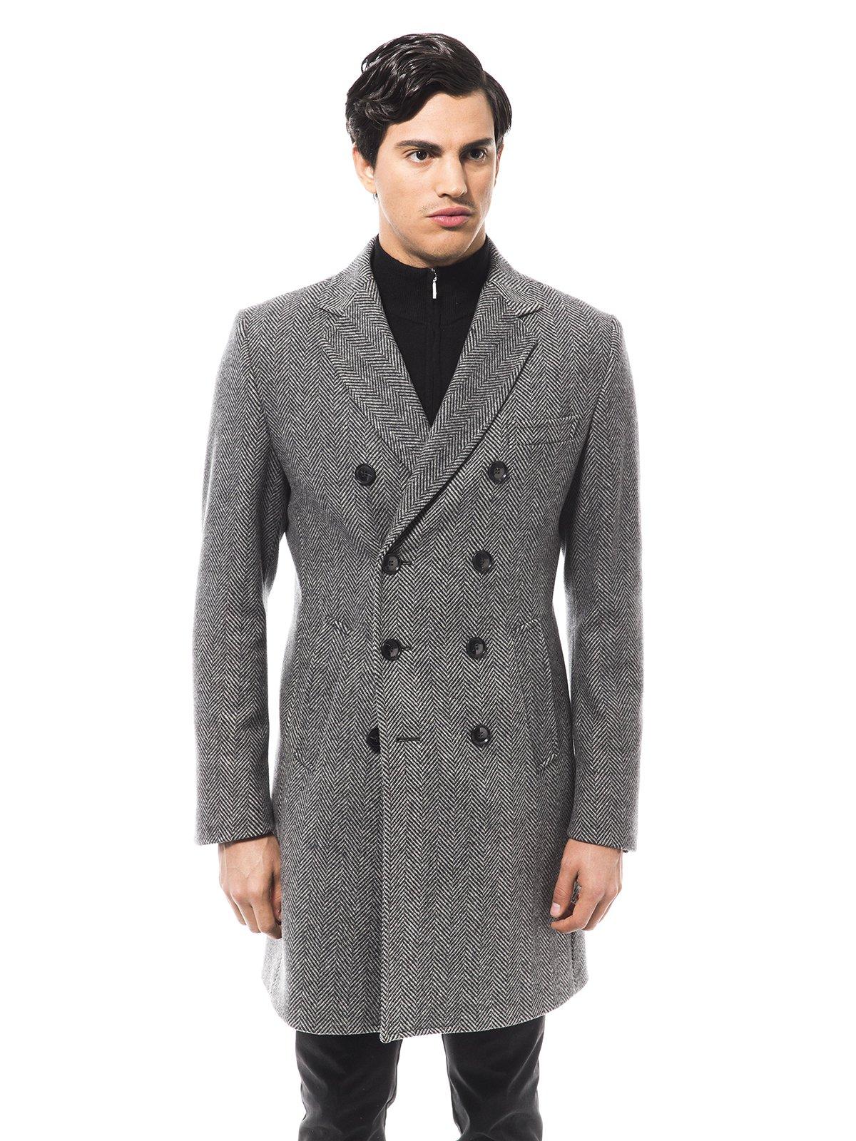 Пальто сіре в малюнок | 1990796