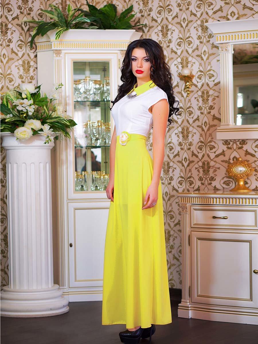Сукня біло-жовта з квіткою | 1693853 | фото 11