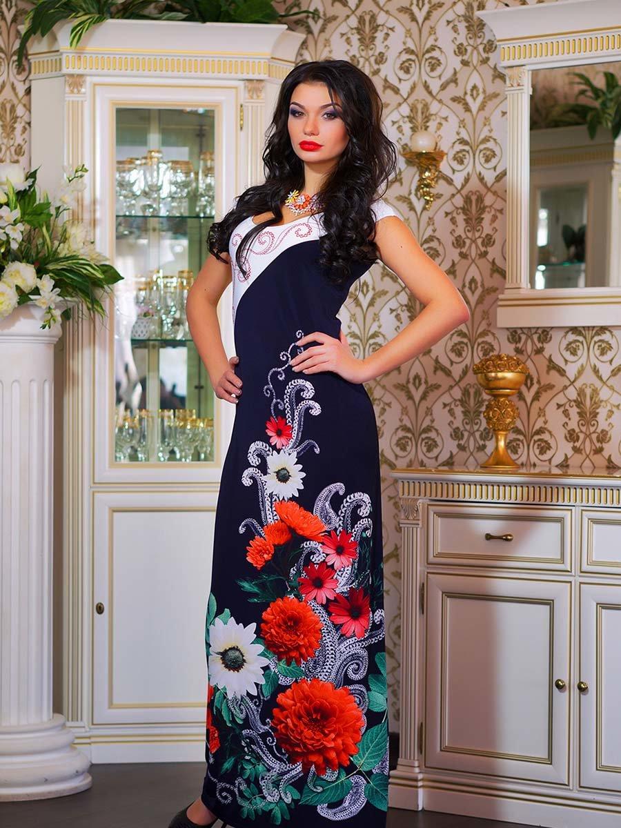 Сукня двоколірна з квітковим принтом | 1833760 | фото 10