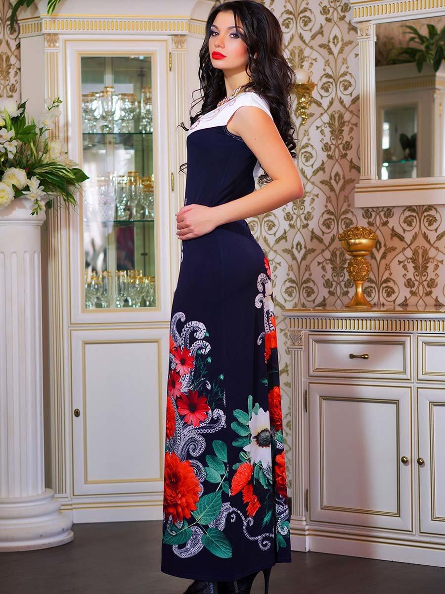 Сукня двоколірна з квітковим принтом | 1833760 | фото 11
