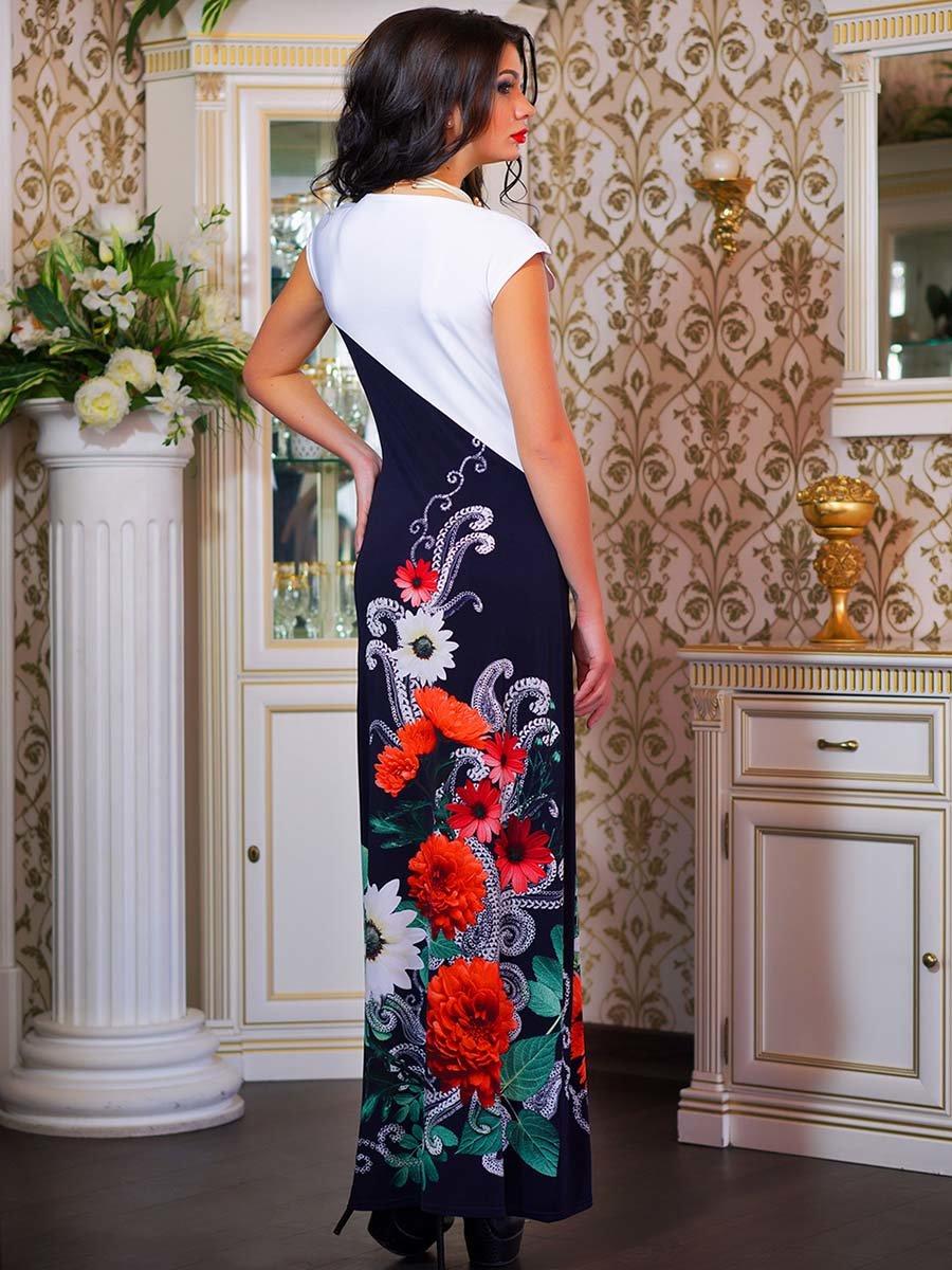 Сукня двоколірна з квітковим принтом | 1833760 | фото 12