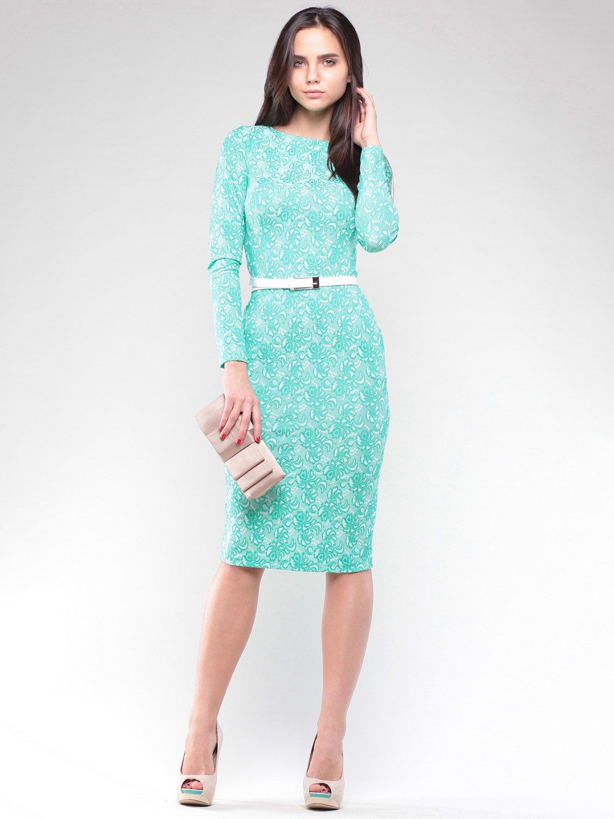 Платье ментолового цвета в узор | 2029339