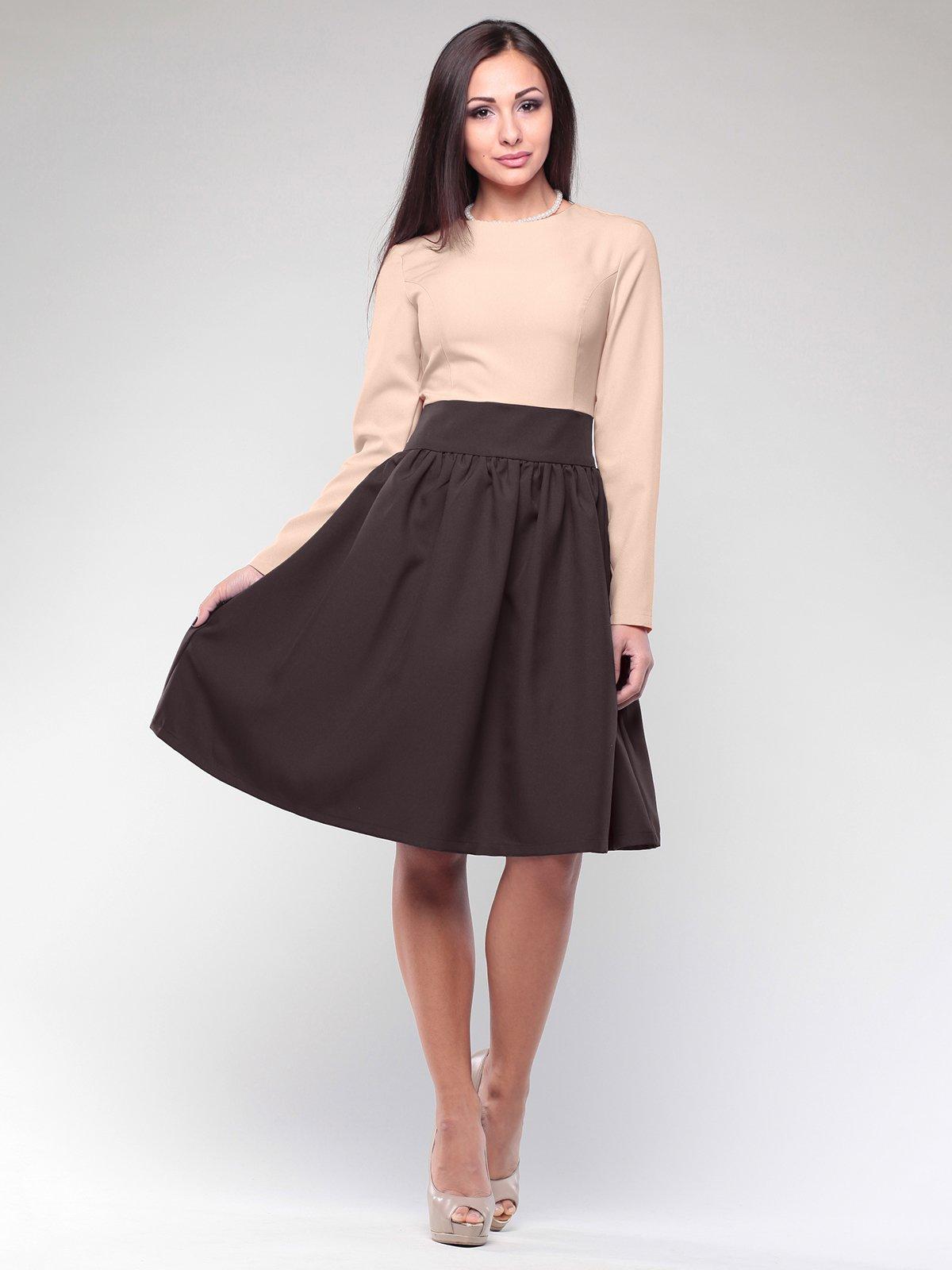Сукня бежево-шоколадного кольору | 2046290