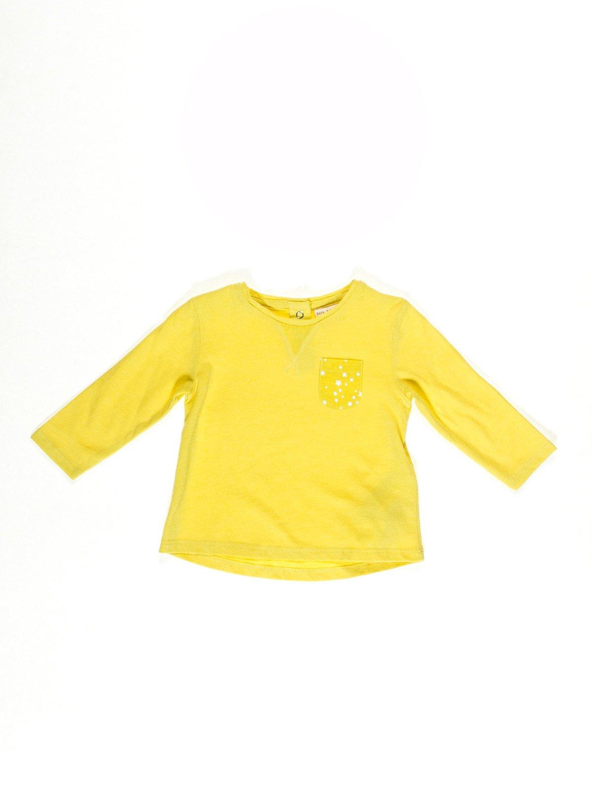 Лонгслив желтый с принтом | 2041608