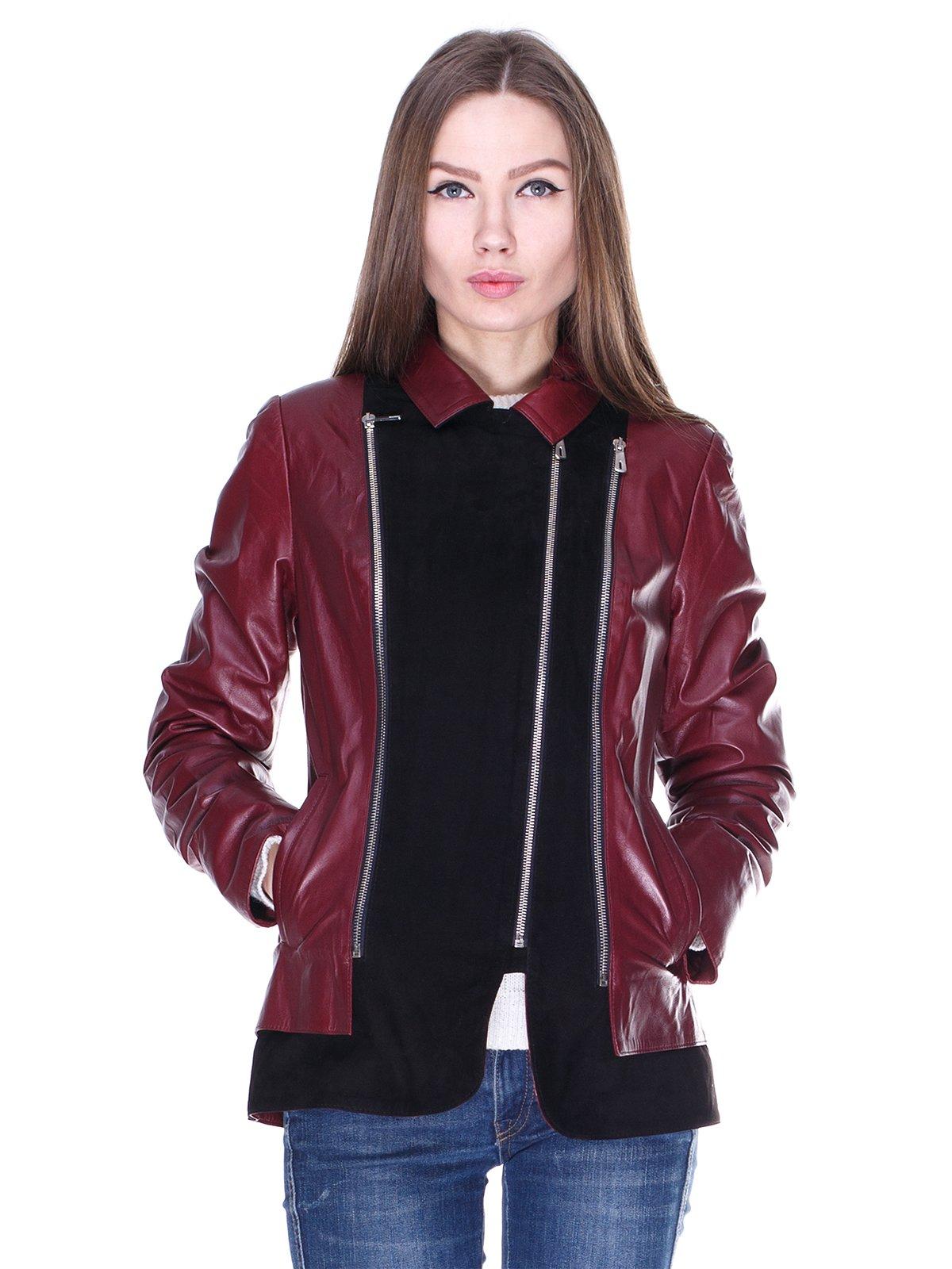 Куртка чорно-бордова комбінована | 1830311