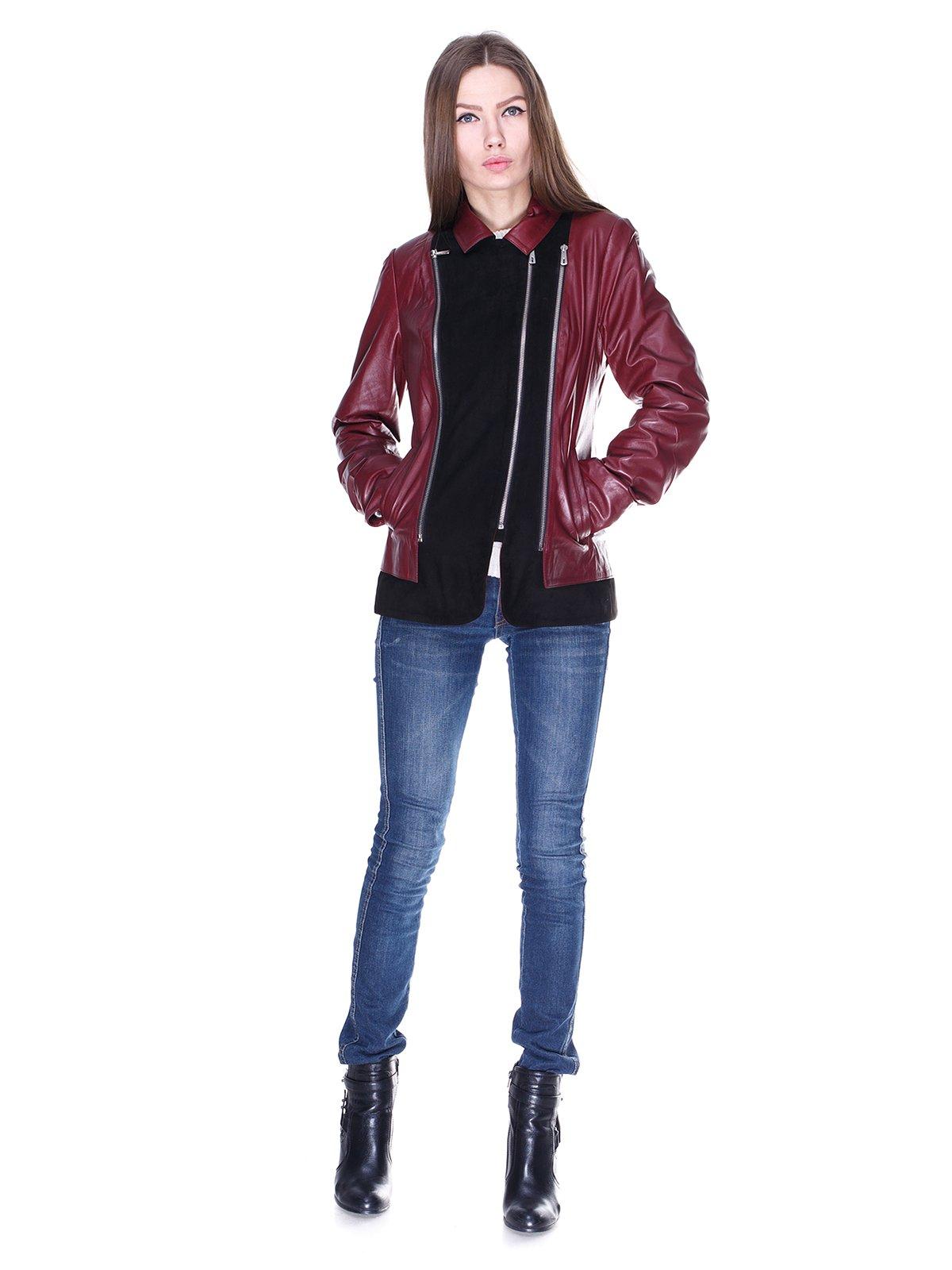 Куртка чорно-бордова комбінована | 1830311 | фото 4