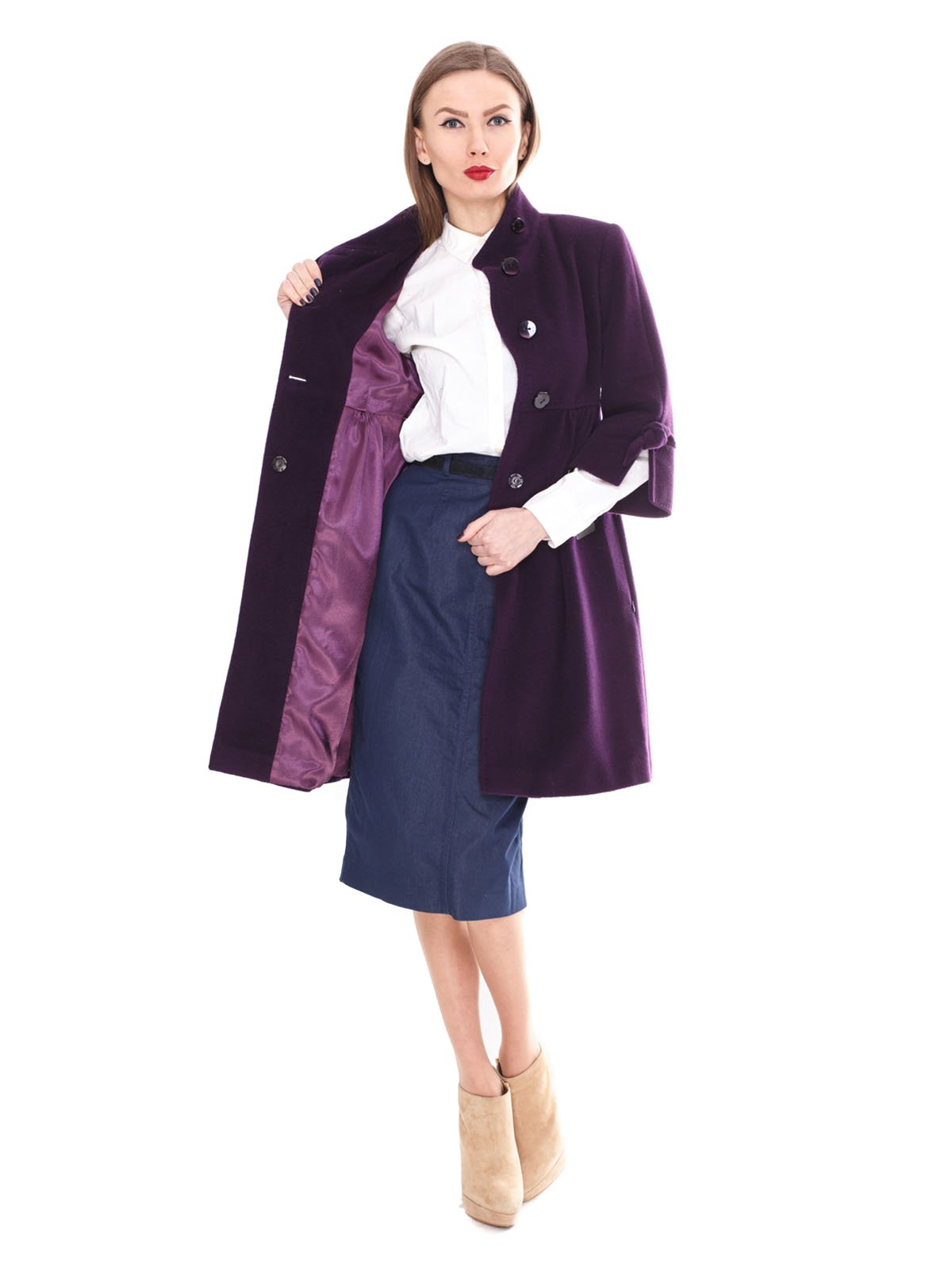 Пальто фиолетовое | 2083659 | фото 2