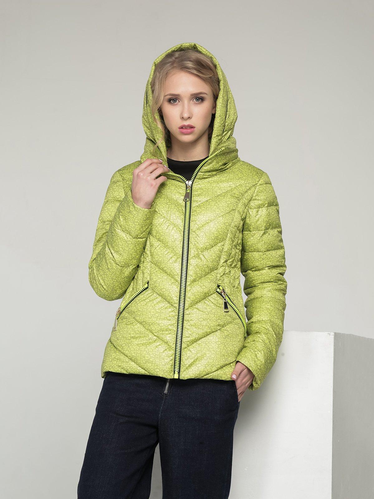Куртка лимонного кольору в принт | 2107000