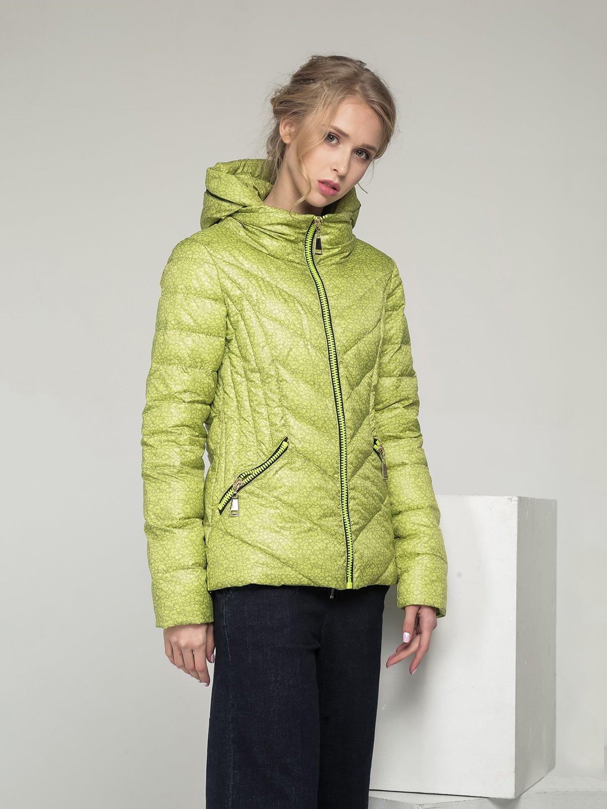 Куртка лимонного кольору в принт | 2107000 | фото 2