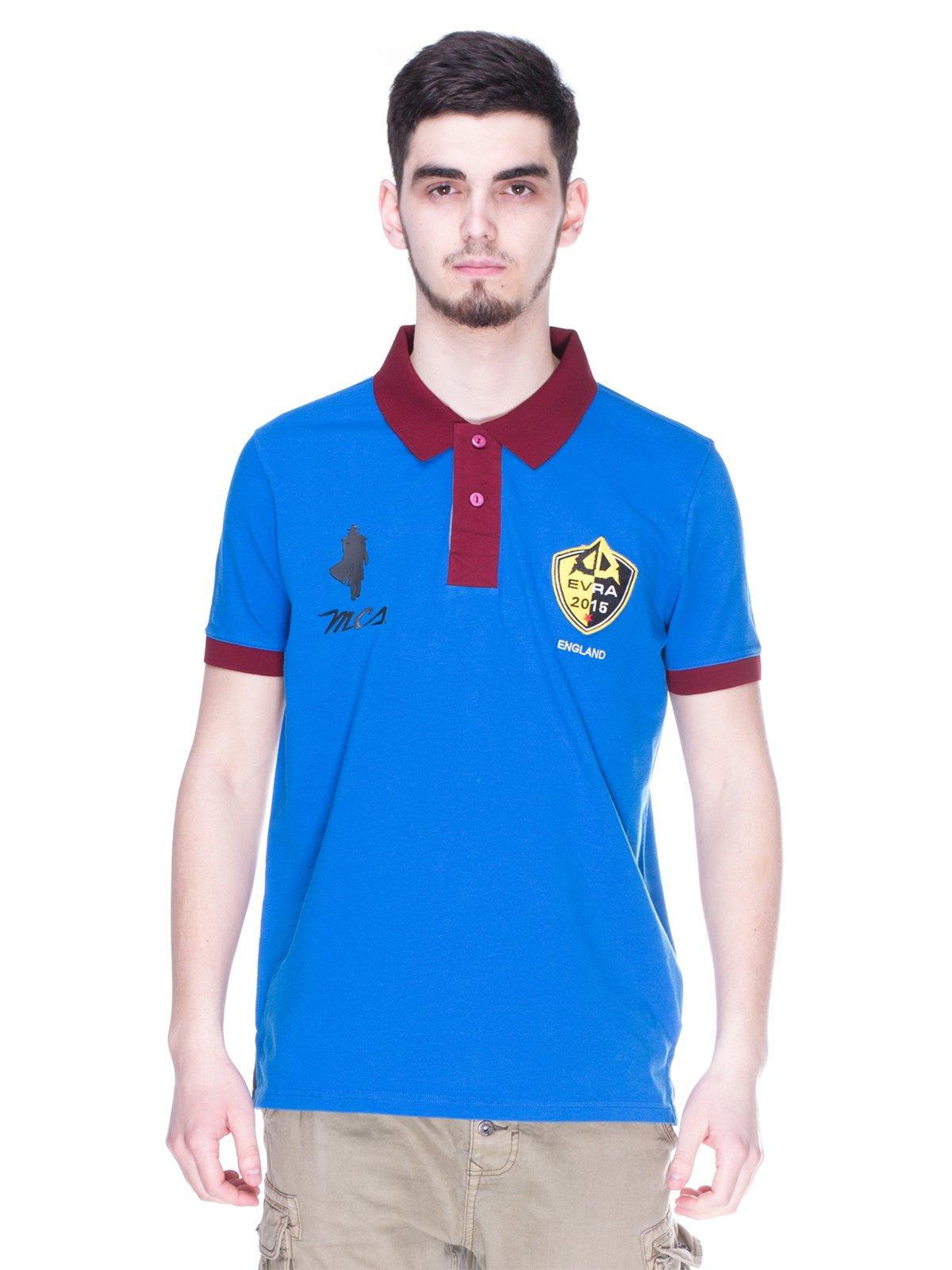 Футболка-поло блакитна з принтами | 2193052
