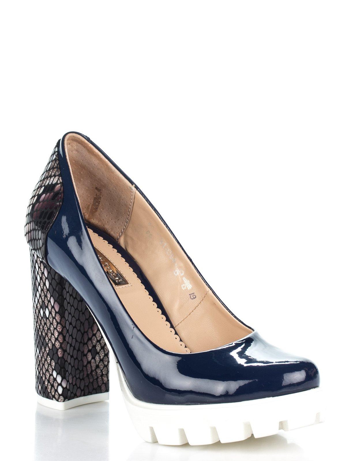 Туфли сине-коричневые с анималистическим принтом | 2195210