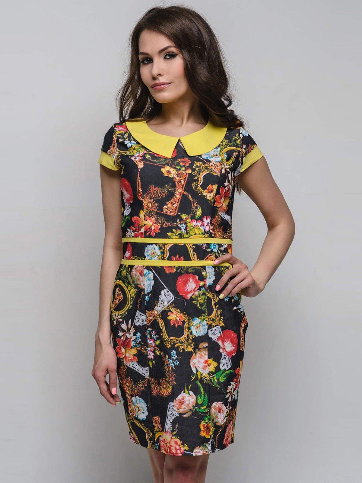 Платье черно-желтое в принт | 2247104