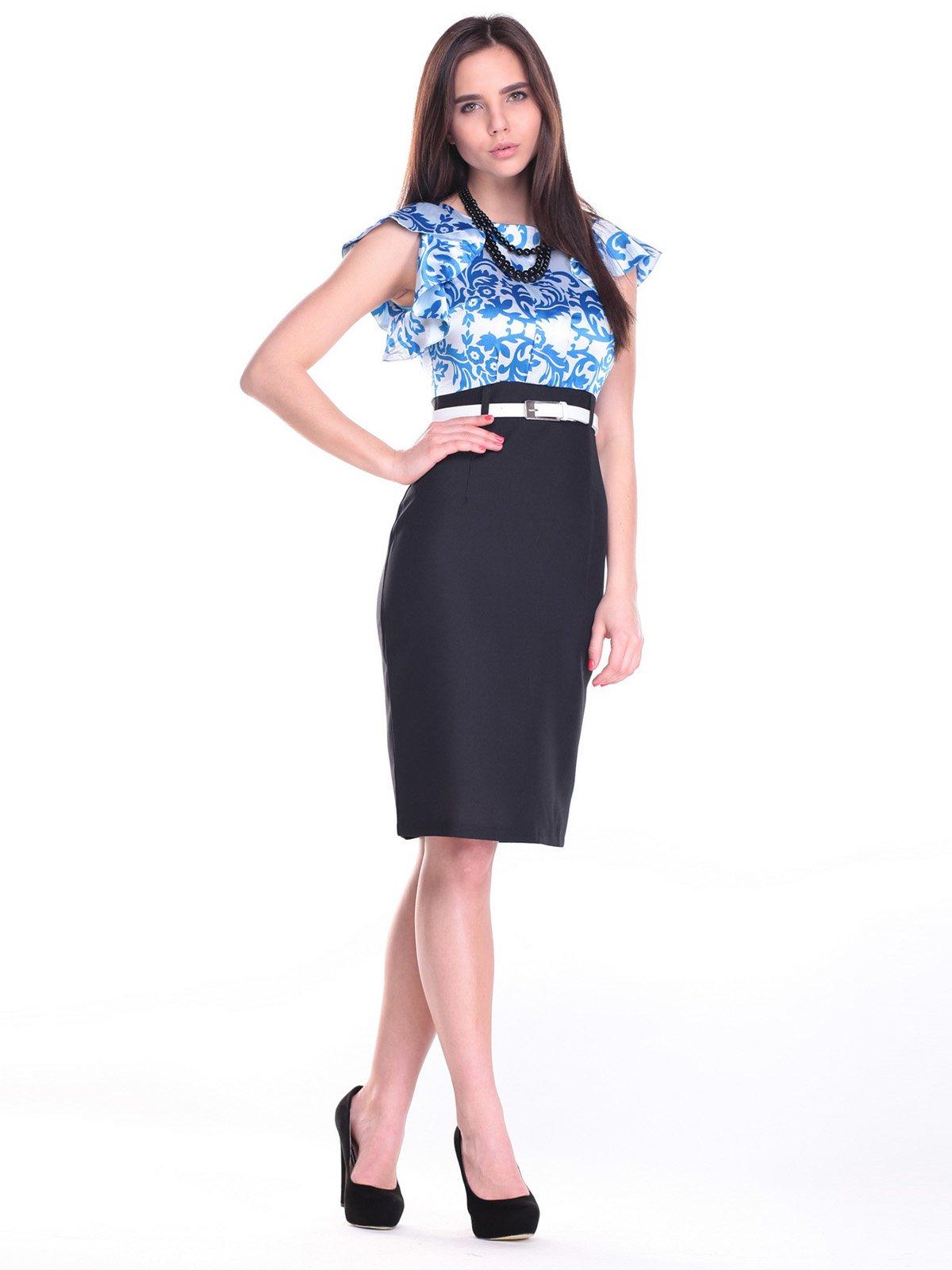 Платье черно-белое в принт | 2257359