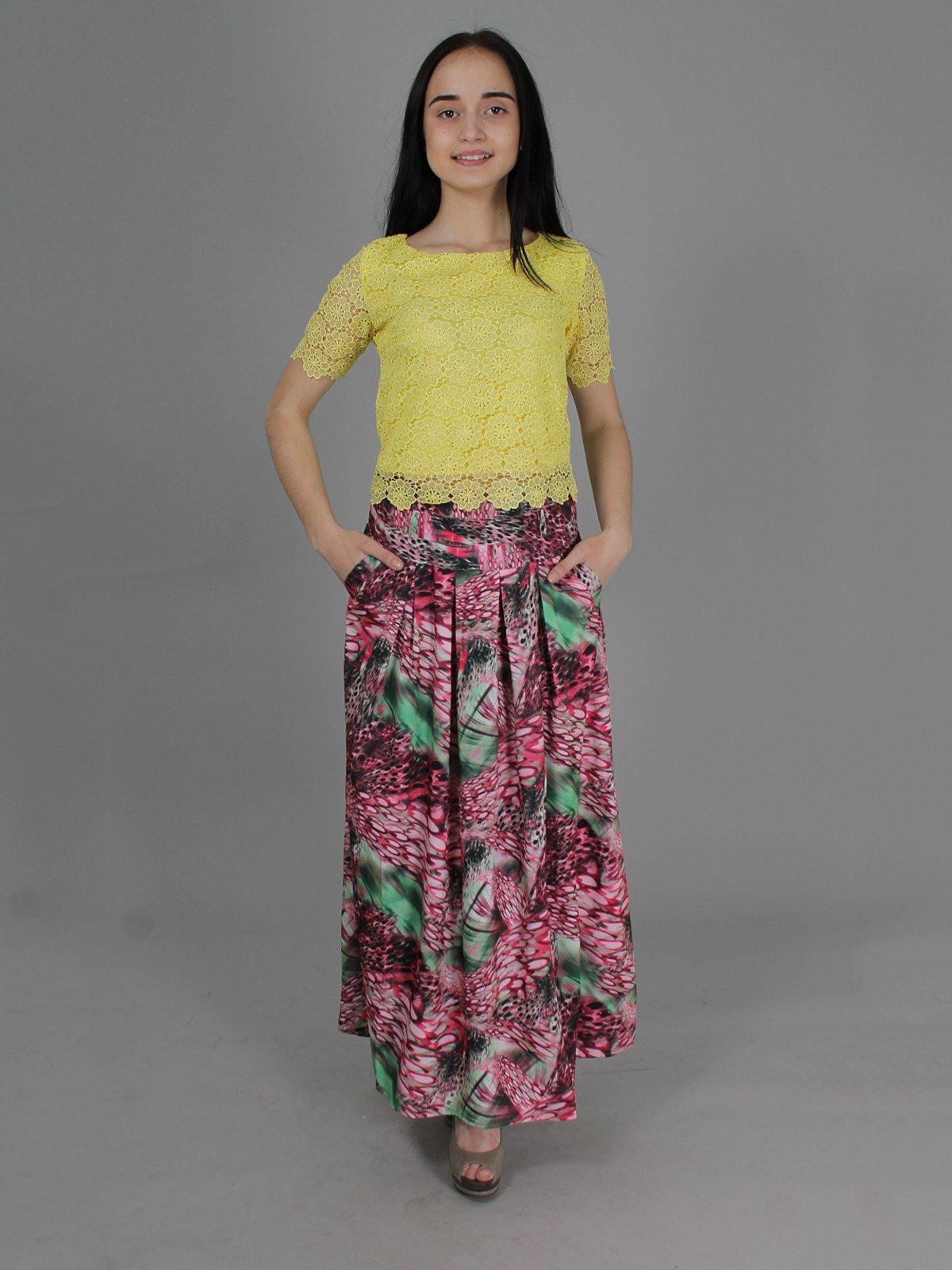 Юбка розовая в принт | 2278918