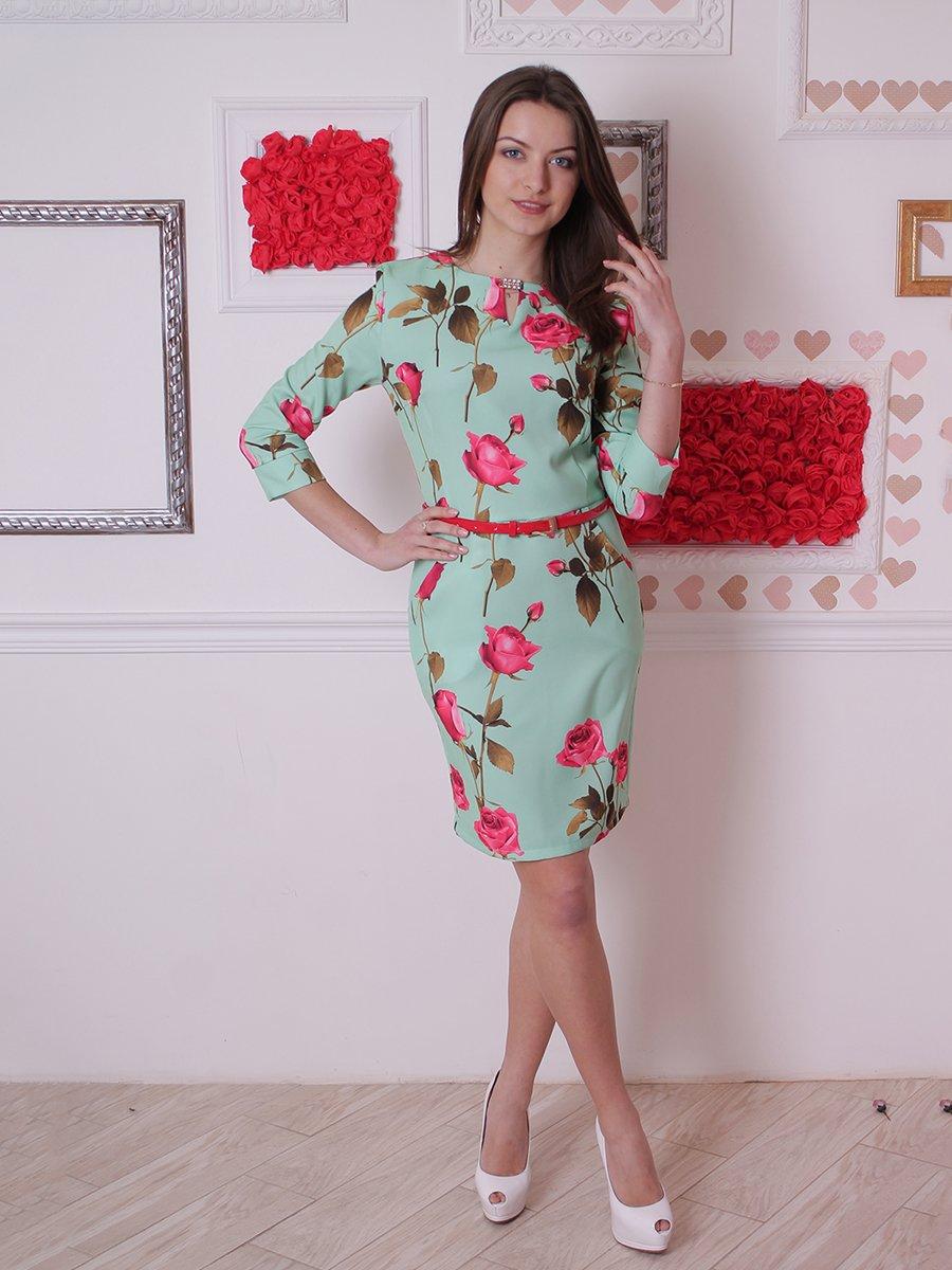 Платье ментолового цвета в цветочный принт | 2278954