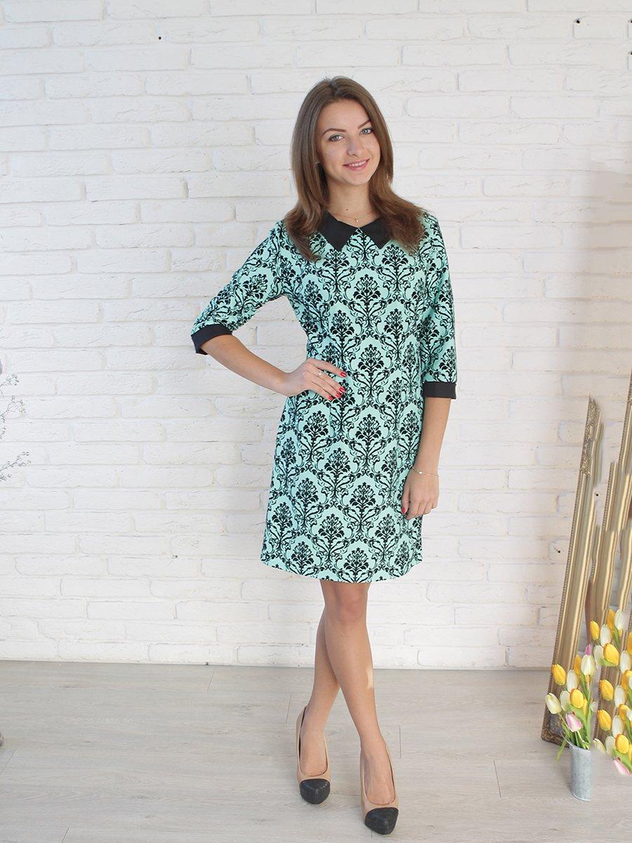 Платье мятного цвета в принт | 2278990