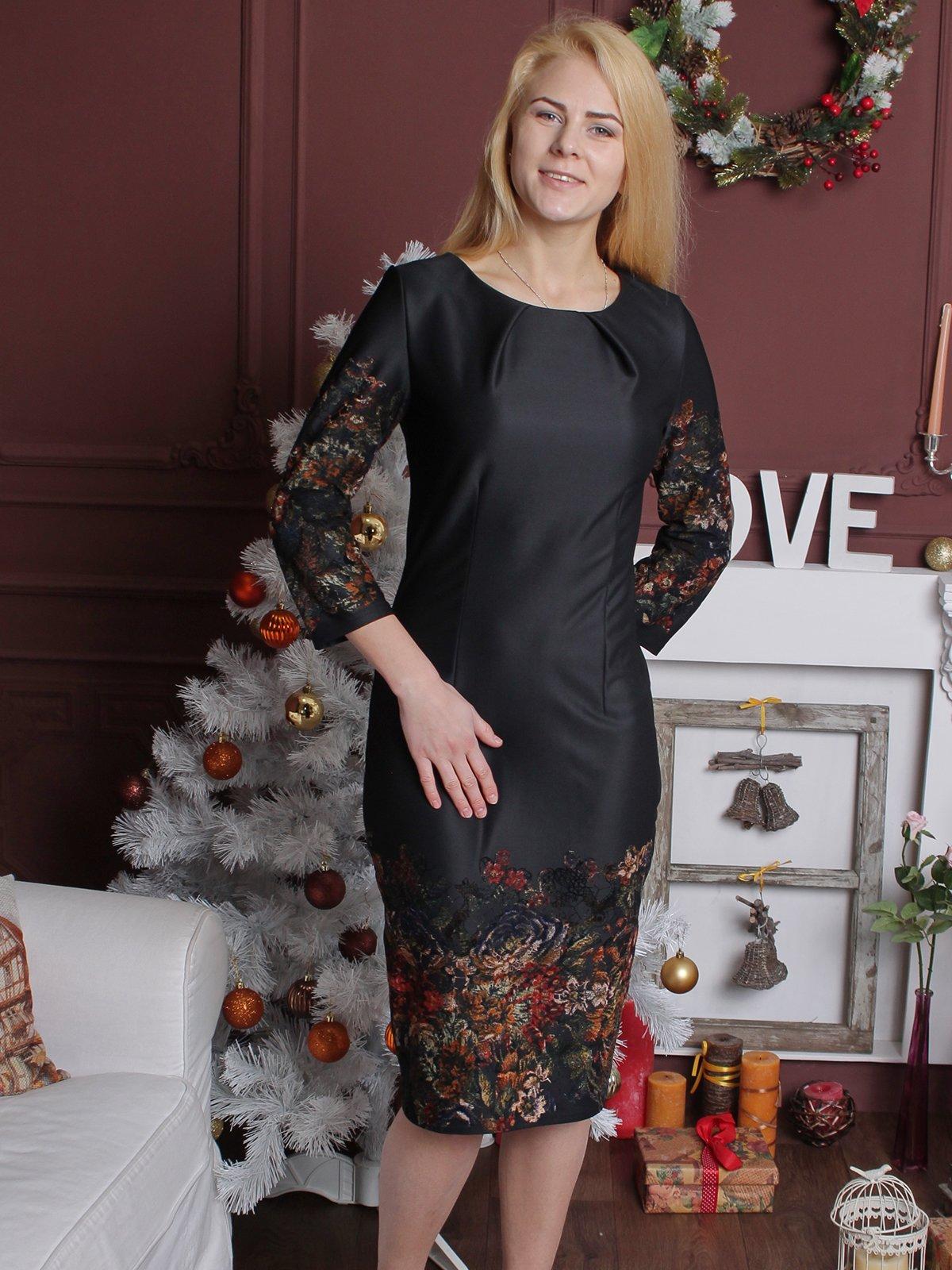 Платье черное с принтом | 2279012