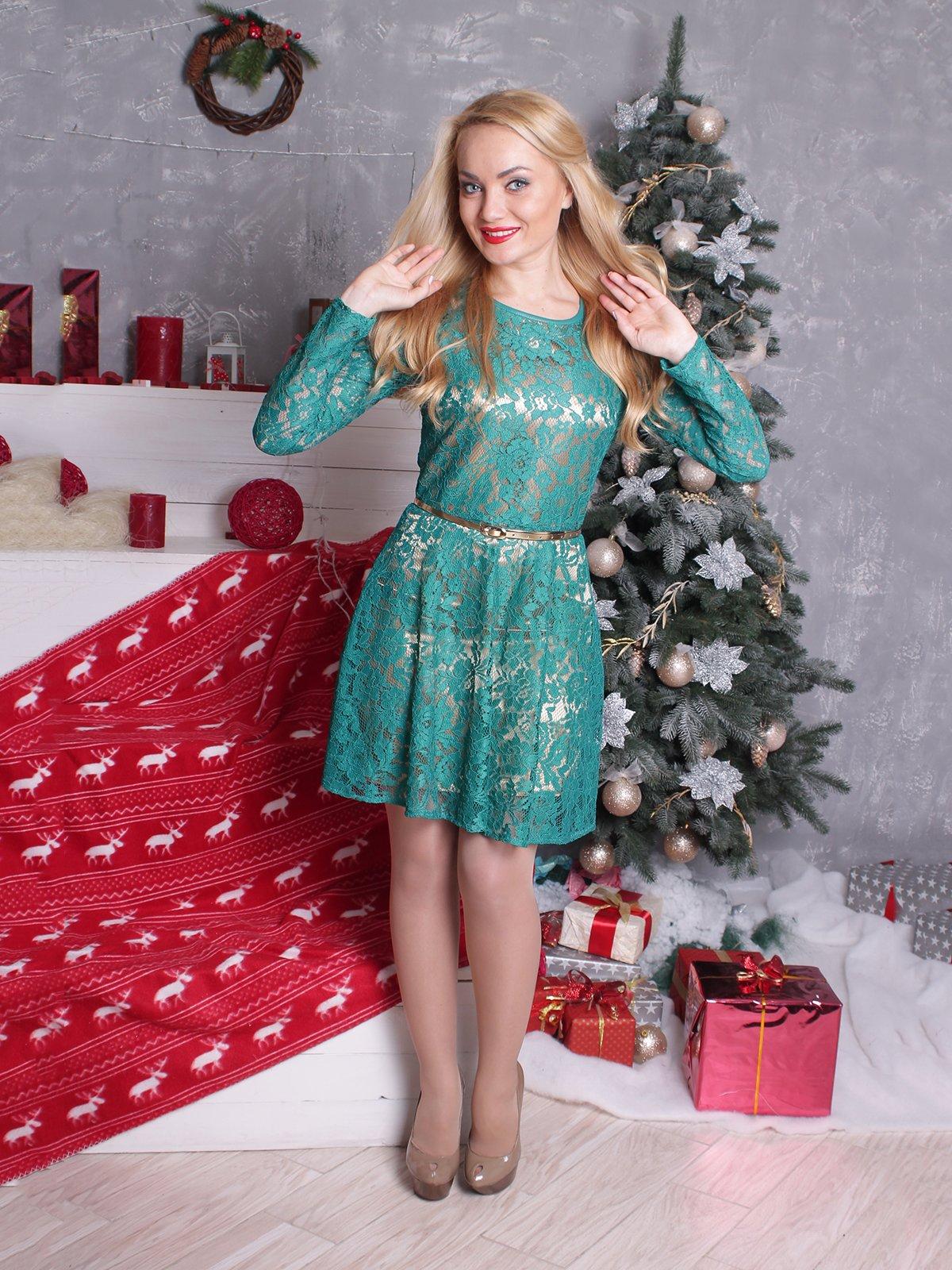 Платье зеленое в рисунок | 2279013