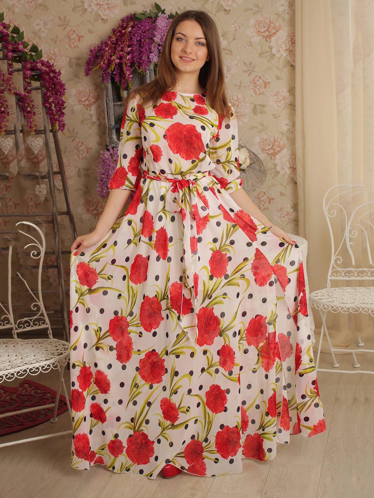 Платье белое в цветочный принт и горох | 2279057