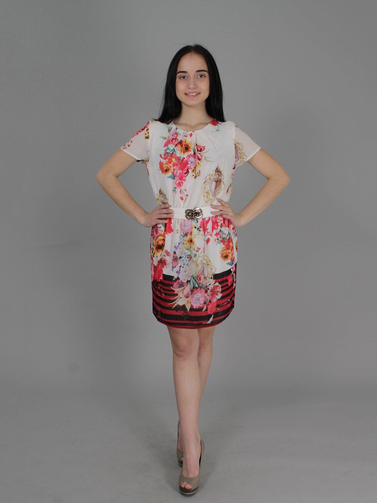 Платье молочного цвета с принтом | 2279071