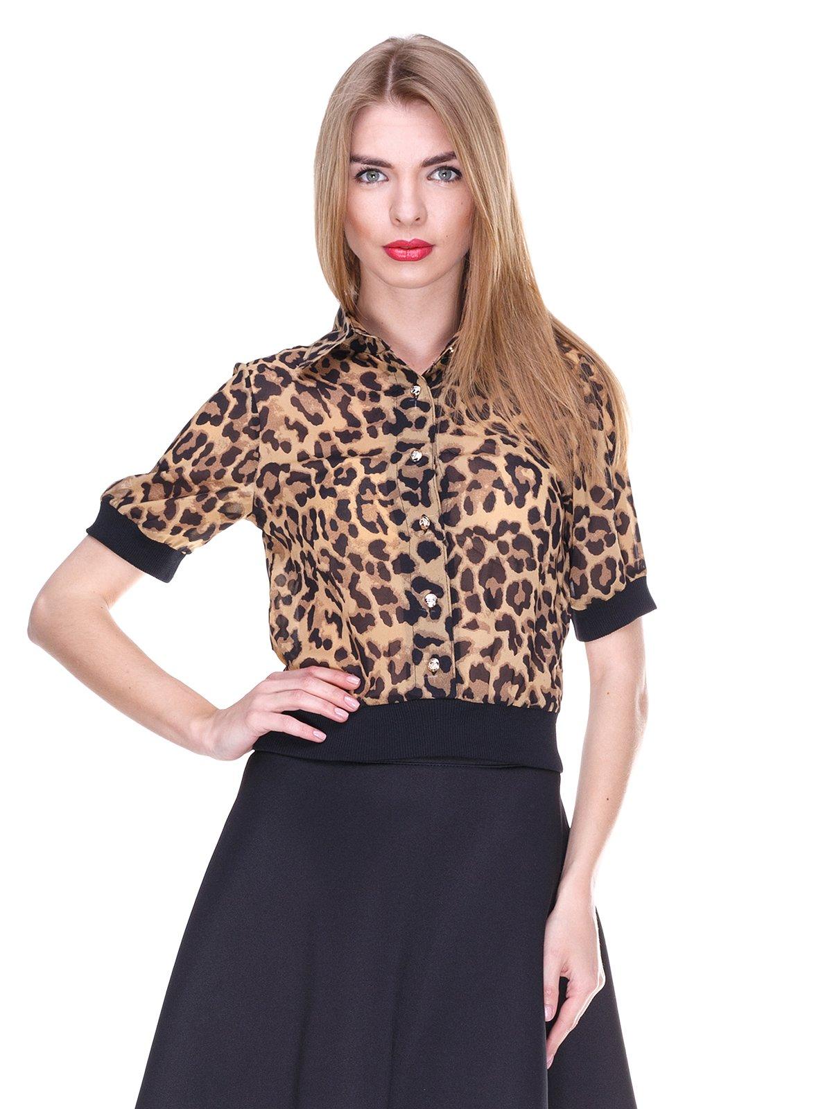 Блуза коричневая с анималистическим принтом | 2273967