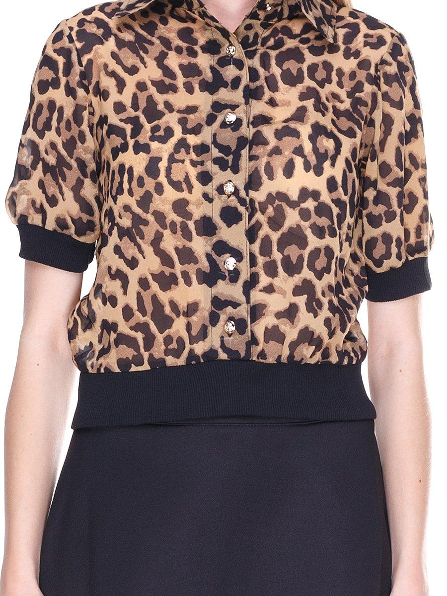 Блуза коричневая с анималистическим принтом | 2273967 | фото 3