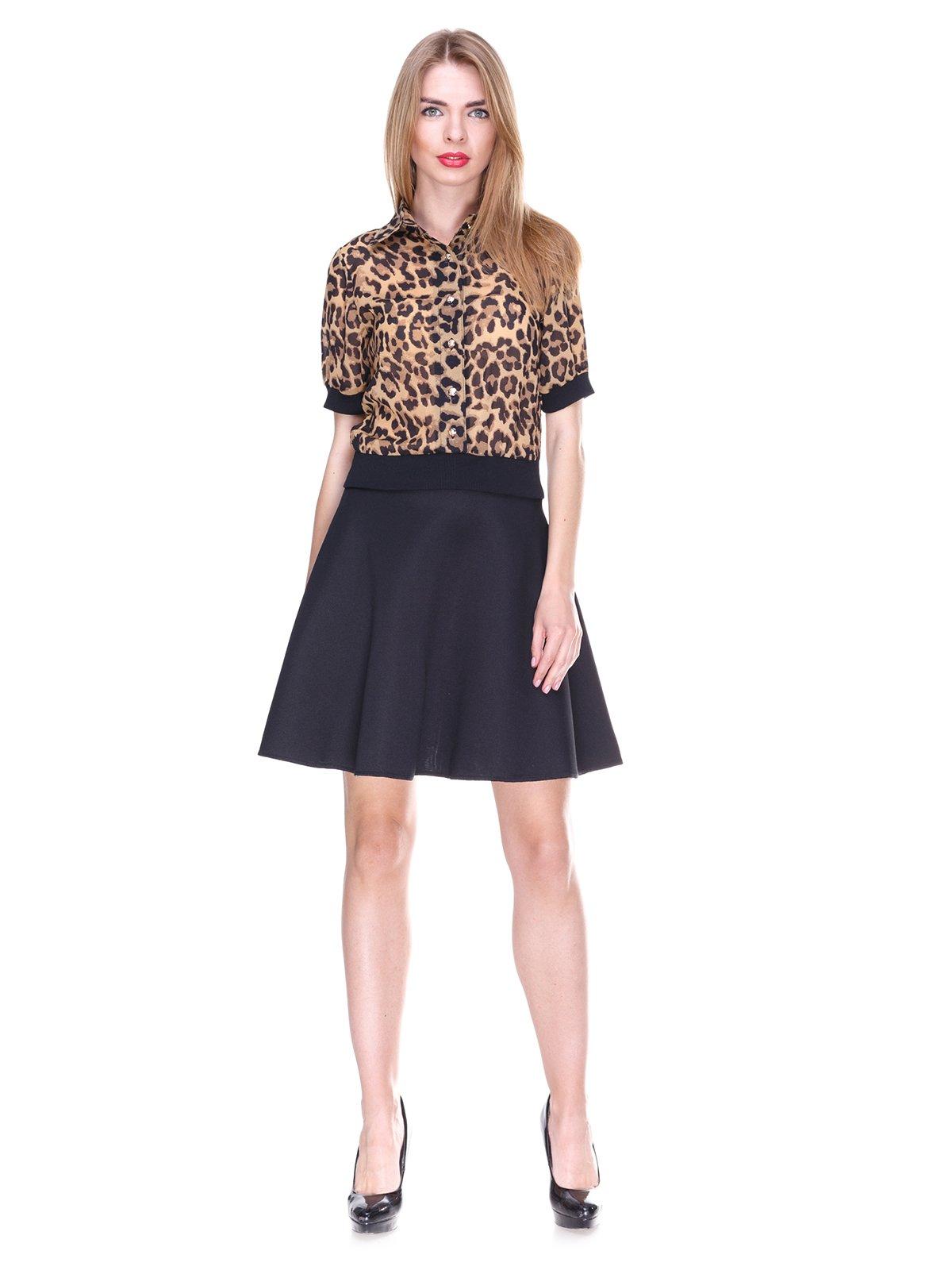 Блуза коричневая с анималистическим принтом | 2273967 | фото 4