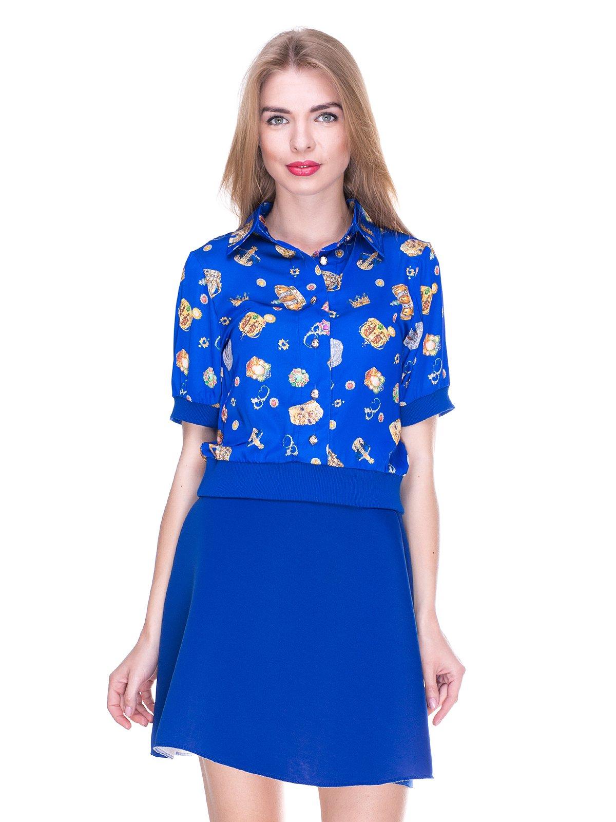 Блуза синя з принтом | 2273971