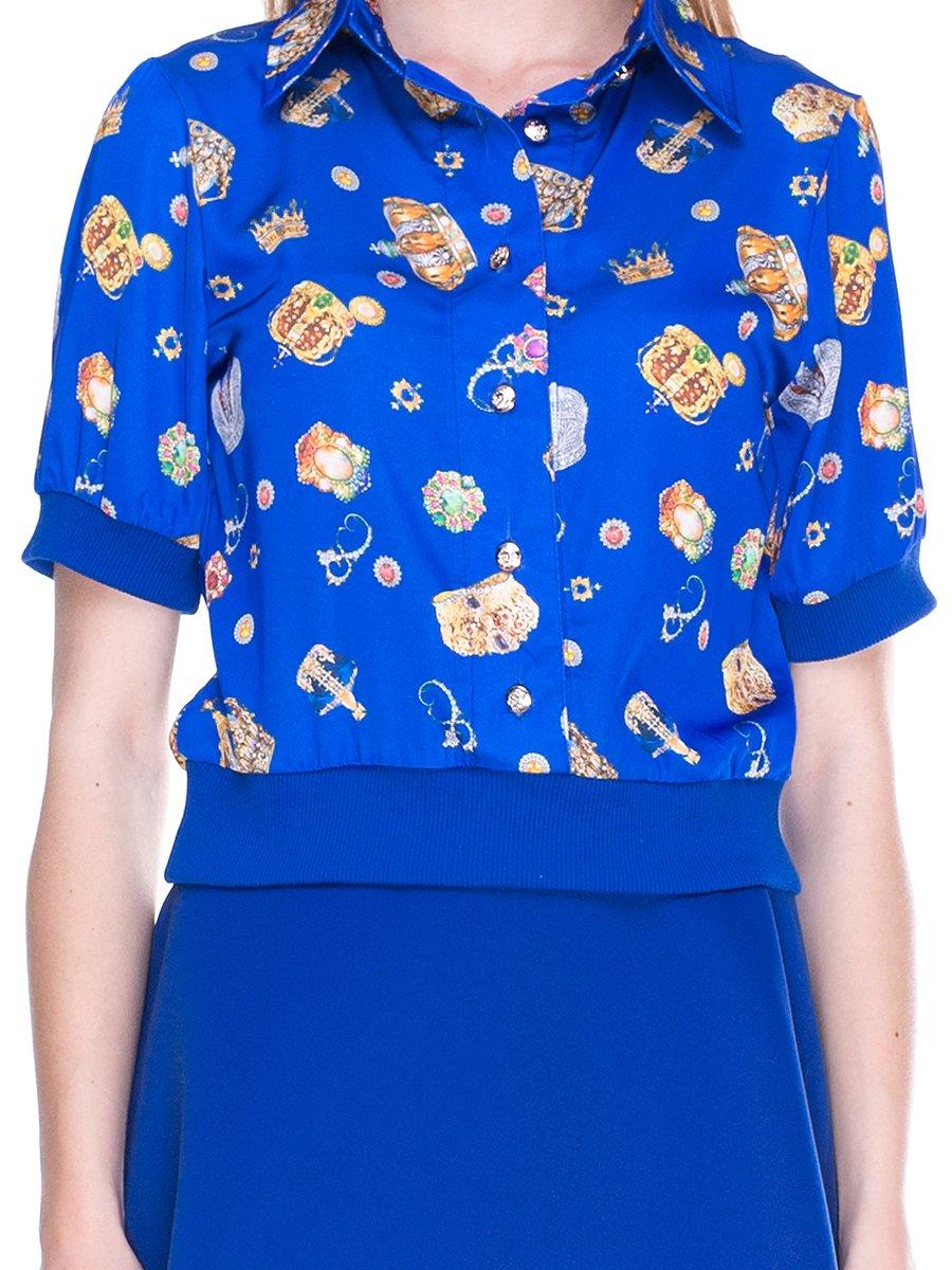Блуза синя з принтом | 2273971 | фото 3